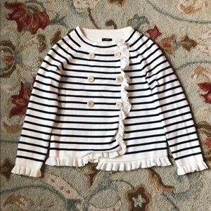 J.Crew Stripe Button Up Sweater